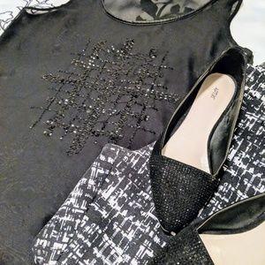 Studio Y & Embellished Sheer Black Tank, Size M